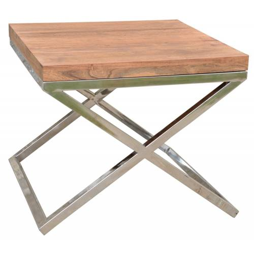 BOUT DE CANAPE STAINLESS II Bois Acacia Stainless . - 155