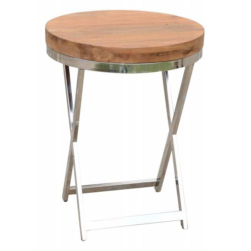 Sellette ronde ethnique chic Stainless II en acacia massif