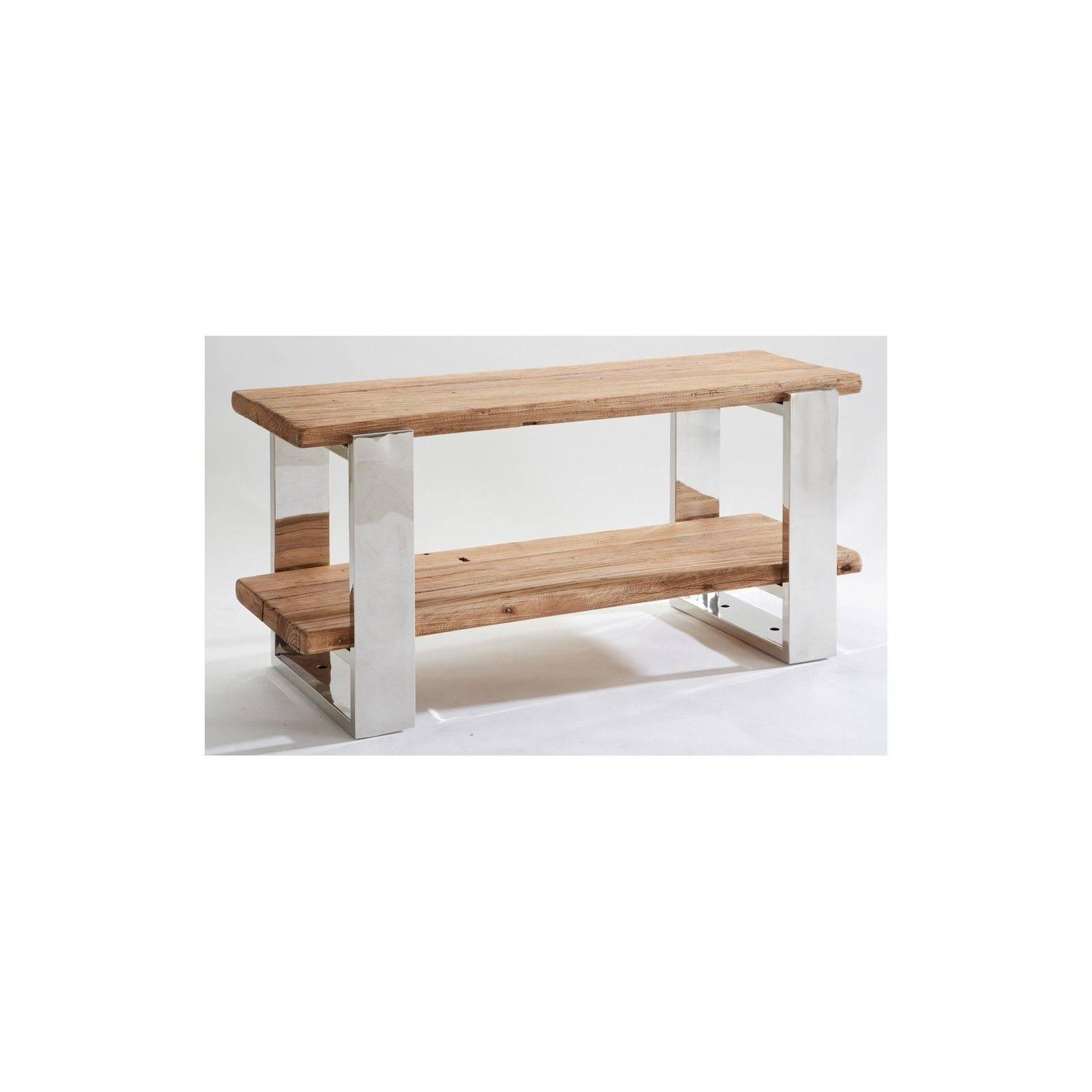 Meuble tv Stainless ethnique chic en bois et métal 120cm