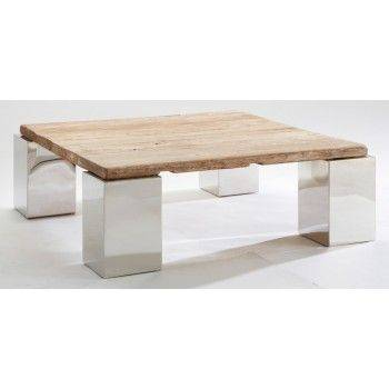 Table basse carrée en orme Stainless ethnique chic 100cm