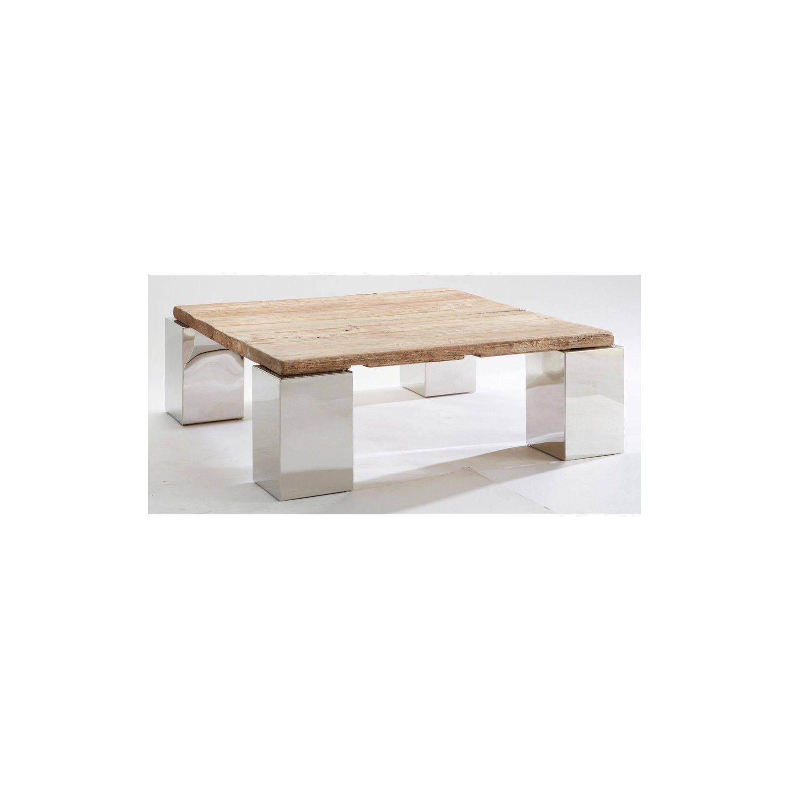 Table basse carrée en orme Stainless ethnique chic 100cm