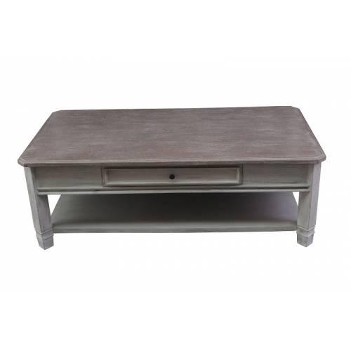 Table basse rectangulaire Manoir haut de gamme en bois manguier massif 130cm x 70cm