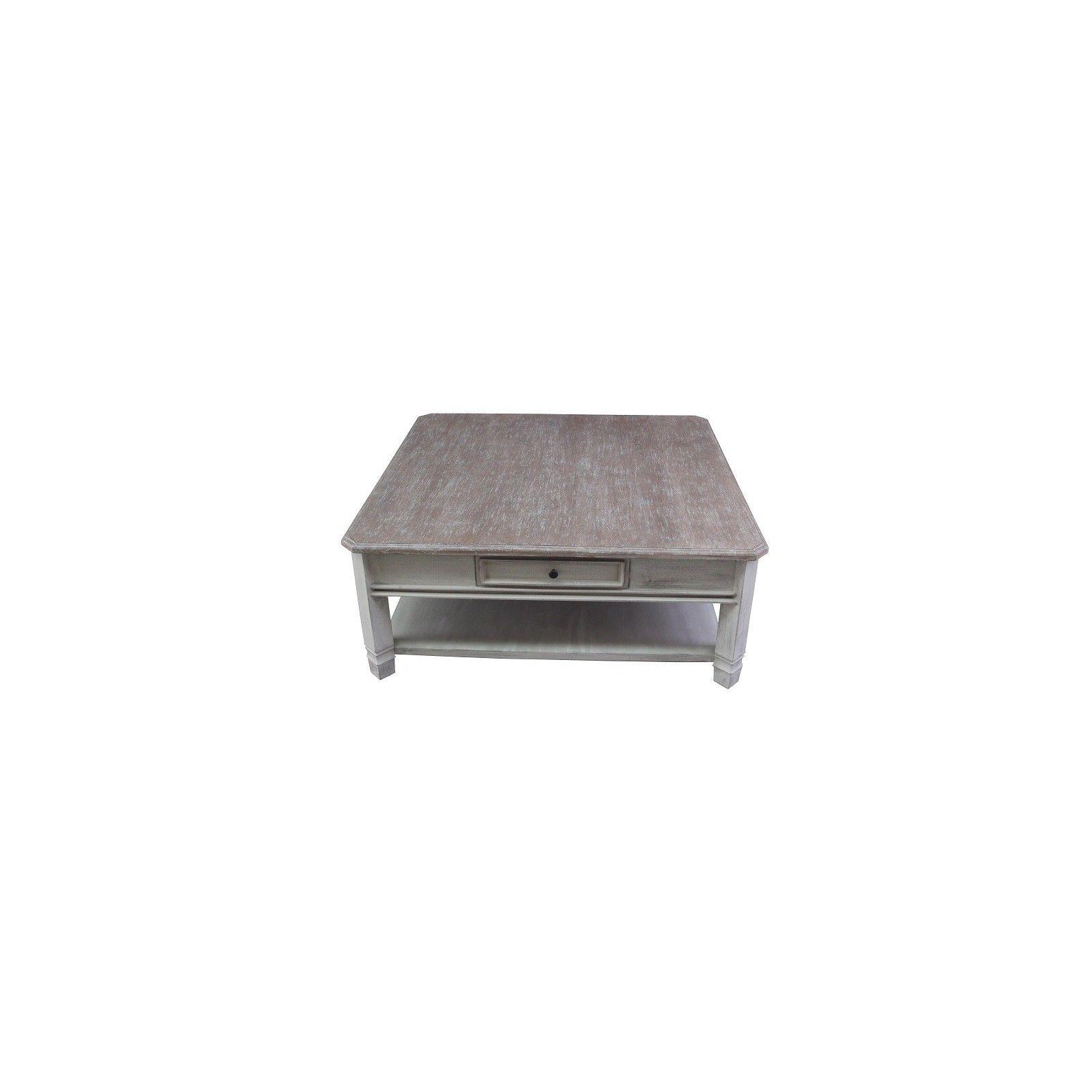 Table basse carrée Manoir haut de gamme en bois manguier massif 110cm x 110cm