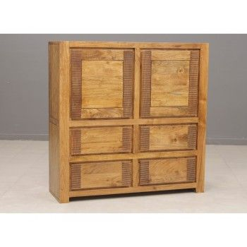 Meuble Verone haut en bois d'acacia massif avec 4 portes et 2 tiroirs
