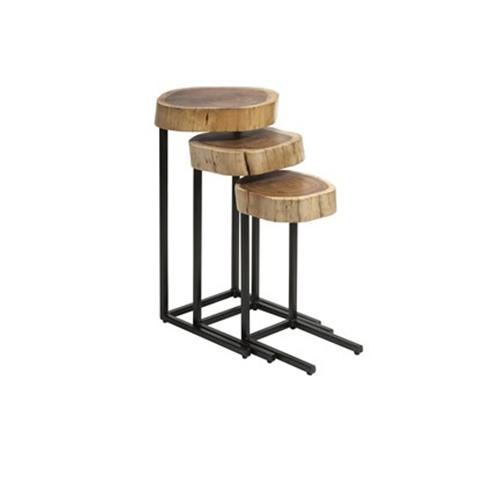 TABLES GIGOGNES SET DE 3 ACACIA/ MÉTAL Tables de repas - 1