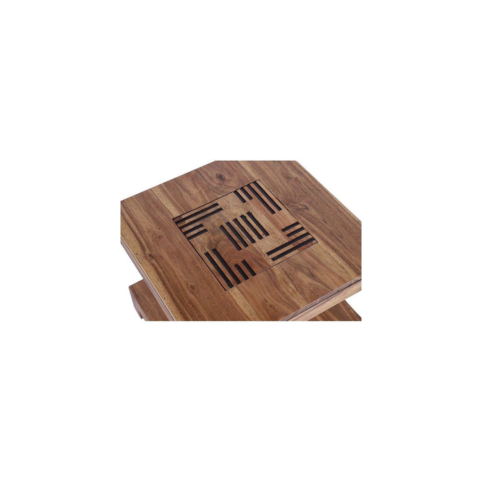 Bout de canapé Kavish haut de gamme en bois d'acacia massif