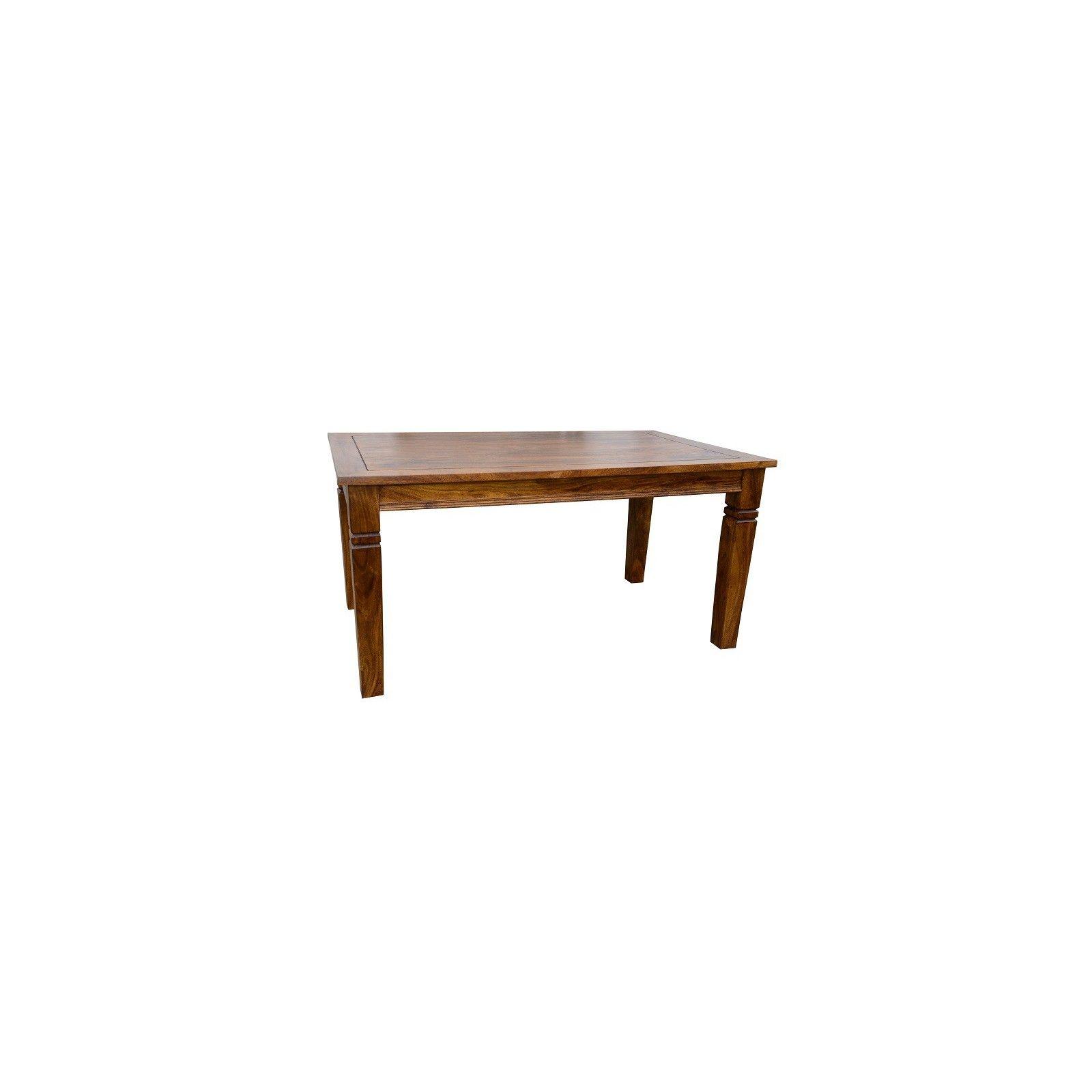 Table de repas rectangulaire allonge Kavish haut de gamme en bois d'acacia massif