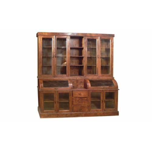 Bibliothèque vitrine Cara moyen modèle 2 corps en bois d'acacia massif ethnique chic