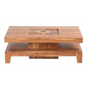 Table basse carrée Kavish haut de gamme en bois d'acacia massif
