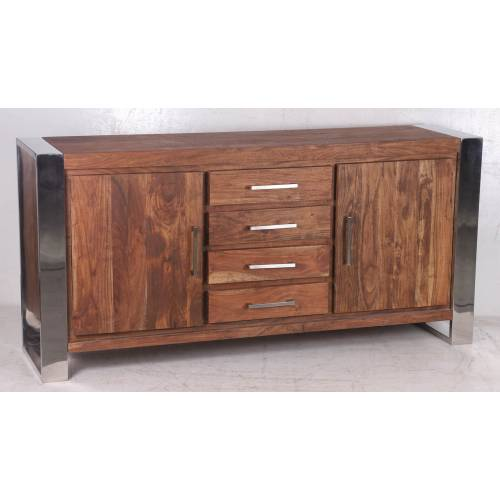 STAINLESS III BUFFET PM 2P 4T Bois Acacia Stainless . - 397