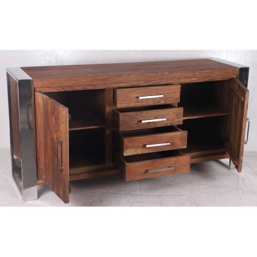 STAINLESS III BUFFET PM 2P 4T Bois Acacia Stainless . - 471