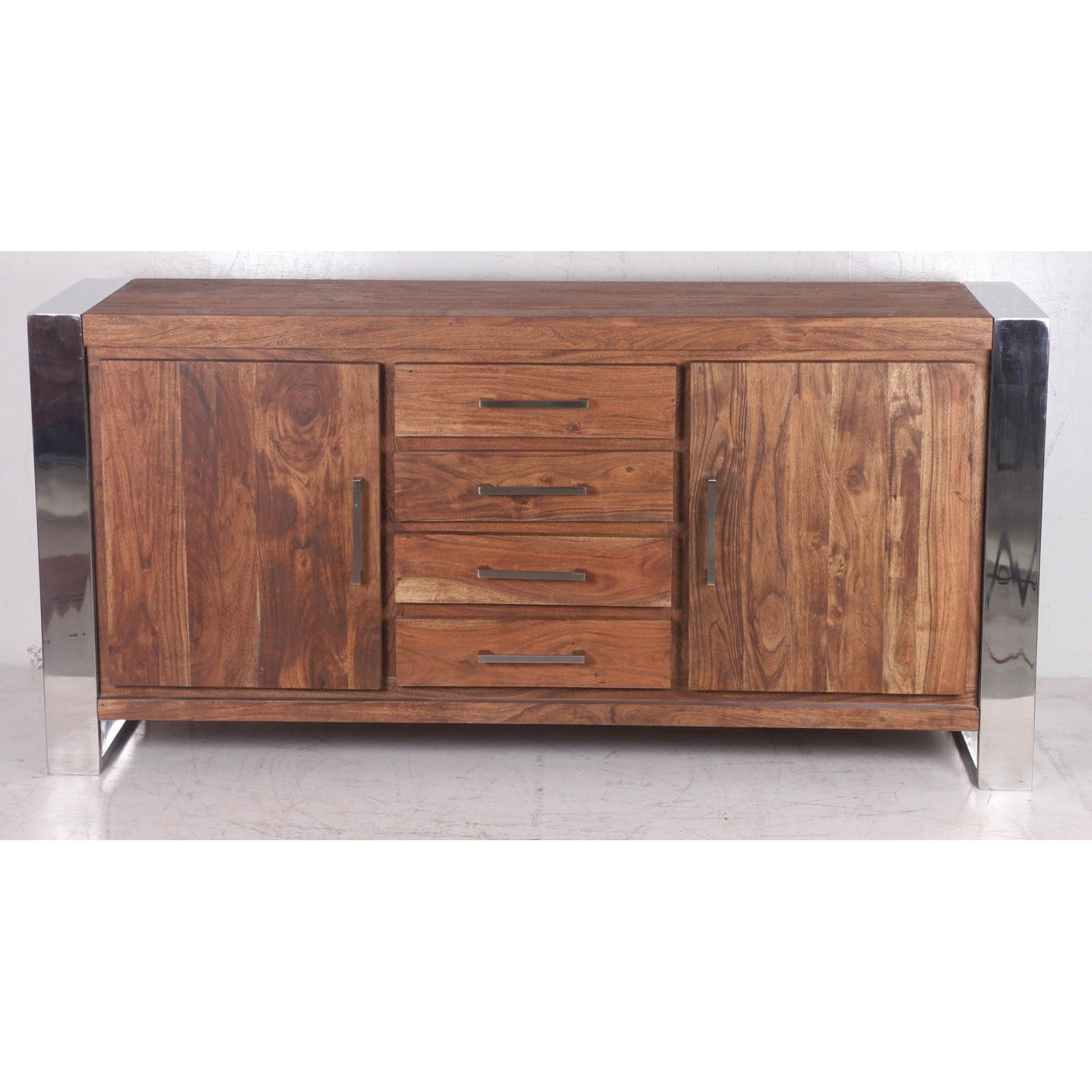 STAINLESS III BUFFET PM 2P 4T Bois Acacia Stainless . - 458