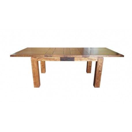 "Table de repas rectangulaire bois sculpté bicolore 160/240 ""Acacia Maya"" XXX"