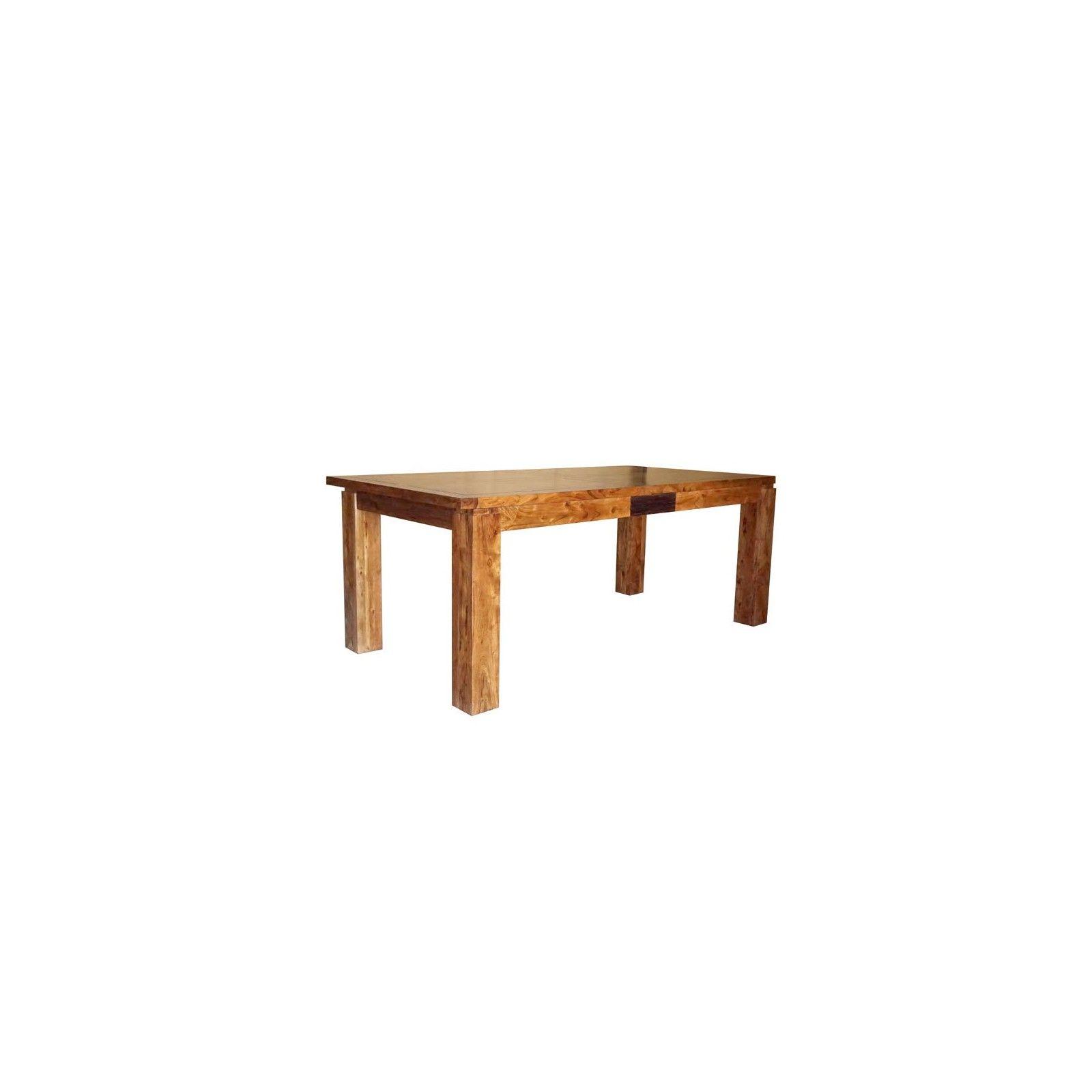 Table de repas rectangulaire bois sculpté bicolore 160/240