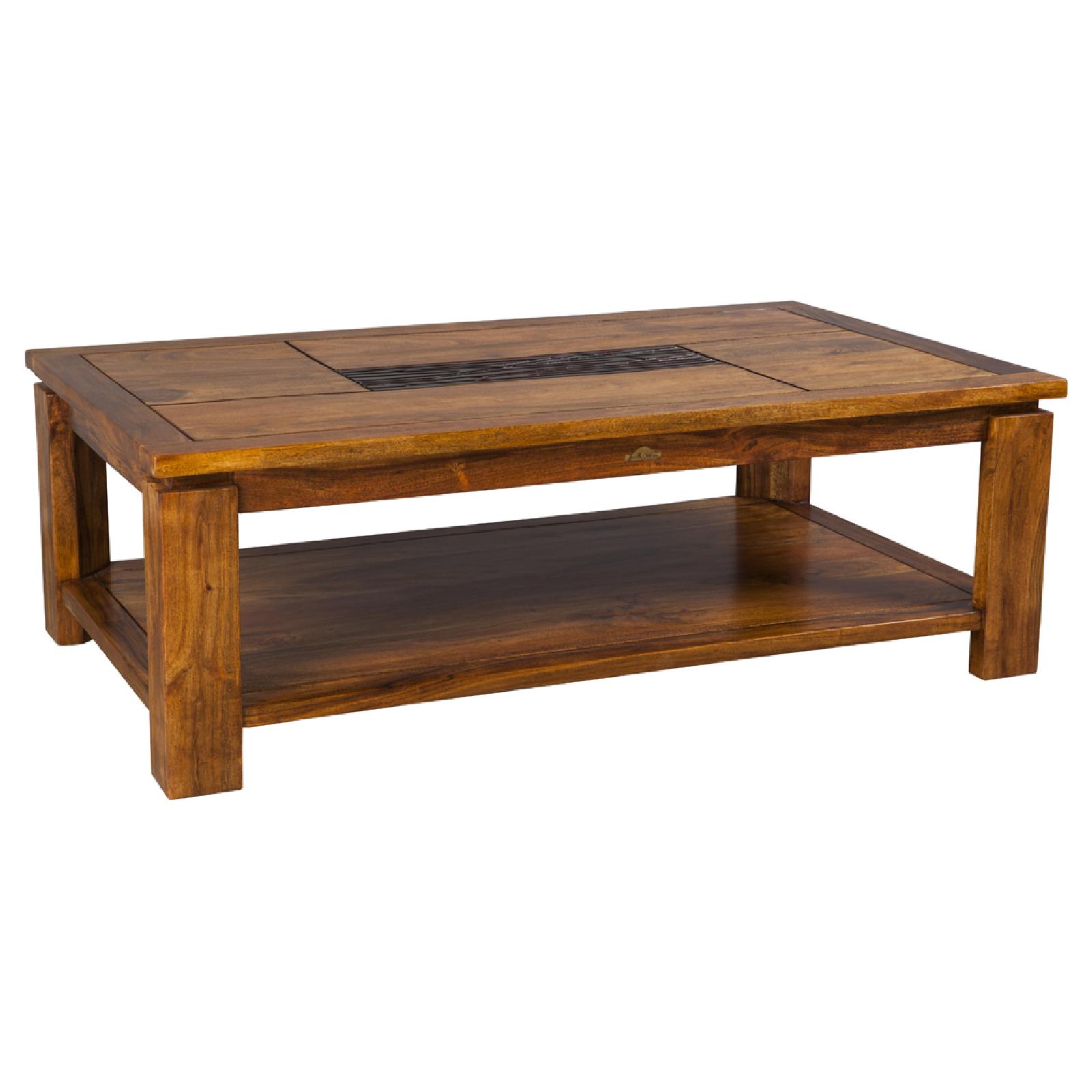 Table basse rectangulaire Yaffo haut de gamme en bois d'acacia massif
