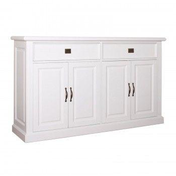 Bahut 4 portes 2 tiroirs romantique - meubles blancs