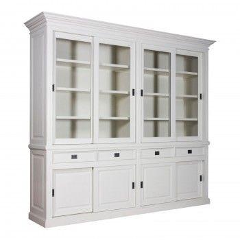 Cabinet 2x4 portes 4 tiroirs Chic - design romantique blanc