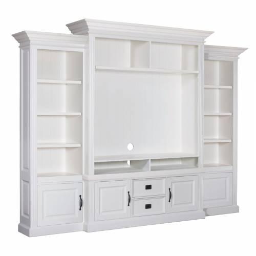 Meuble TV avec étagière 2 portes 2 tiroirs au design chic