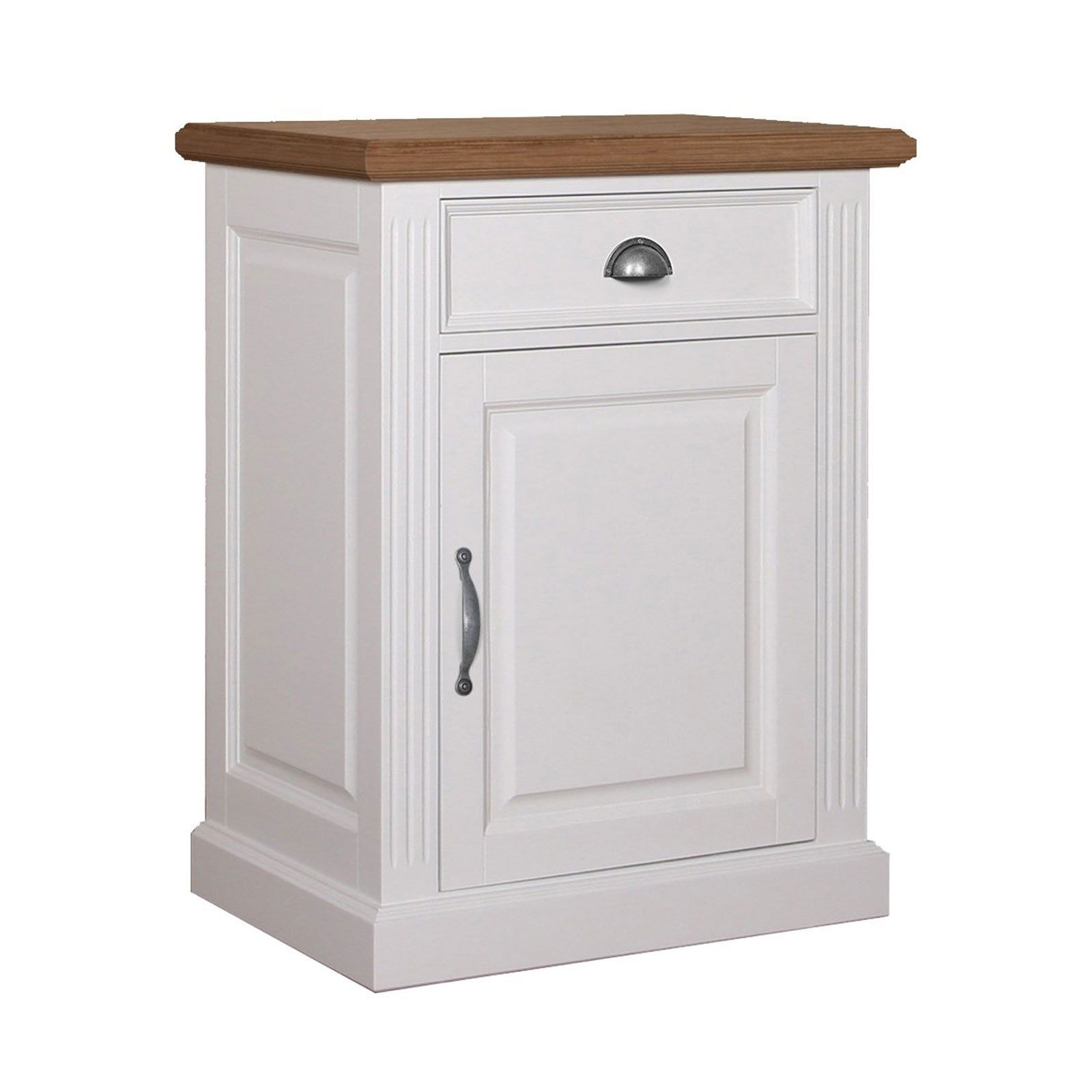 "Bahut 1 porte 1 tiroir - ""Chêne et Pin Romance"" meuble bicolore"