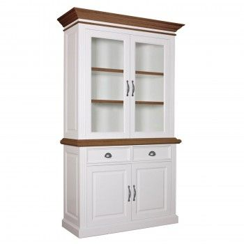 """Buffet deux corps 2x2 portes 2 tiroirs """"Chêne et Pin Romance"""" - meubles chics romantiques"""