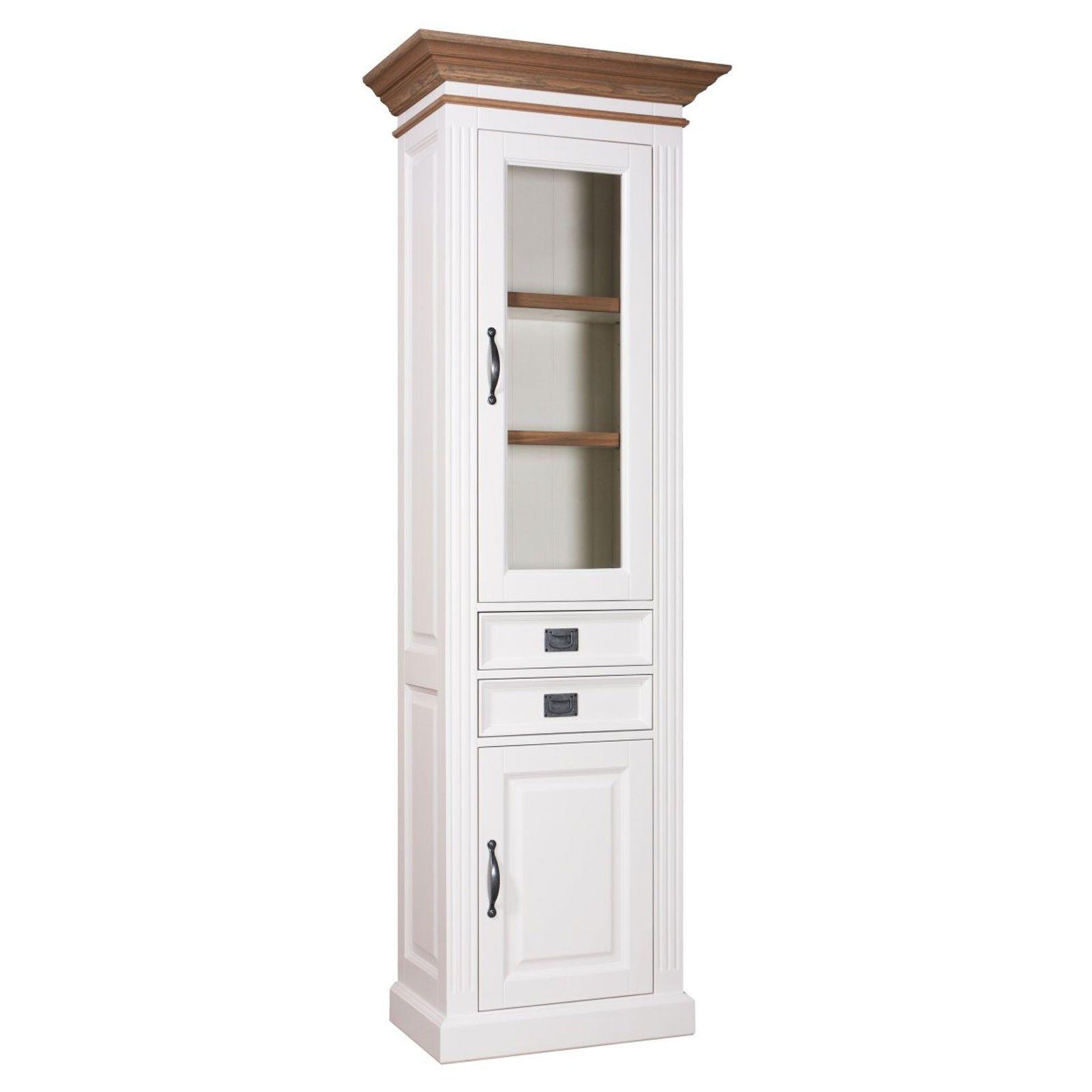 "Vitrine 2x1 porte 2 tiroirs - design ""Chêne et Pin Romance"""