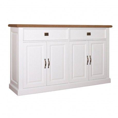 """Buffet bas 4 portes 2 tiroirs """"Chêne et Pin Romance"""""""