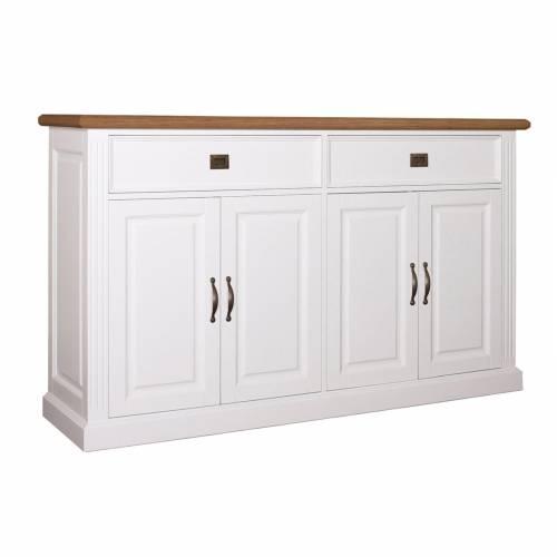 """Buffet bas 4 portes 2 tiroirs """"Chêne et Pin Romance"""" - achat buffet bas haut de gamme"""
