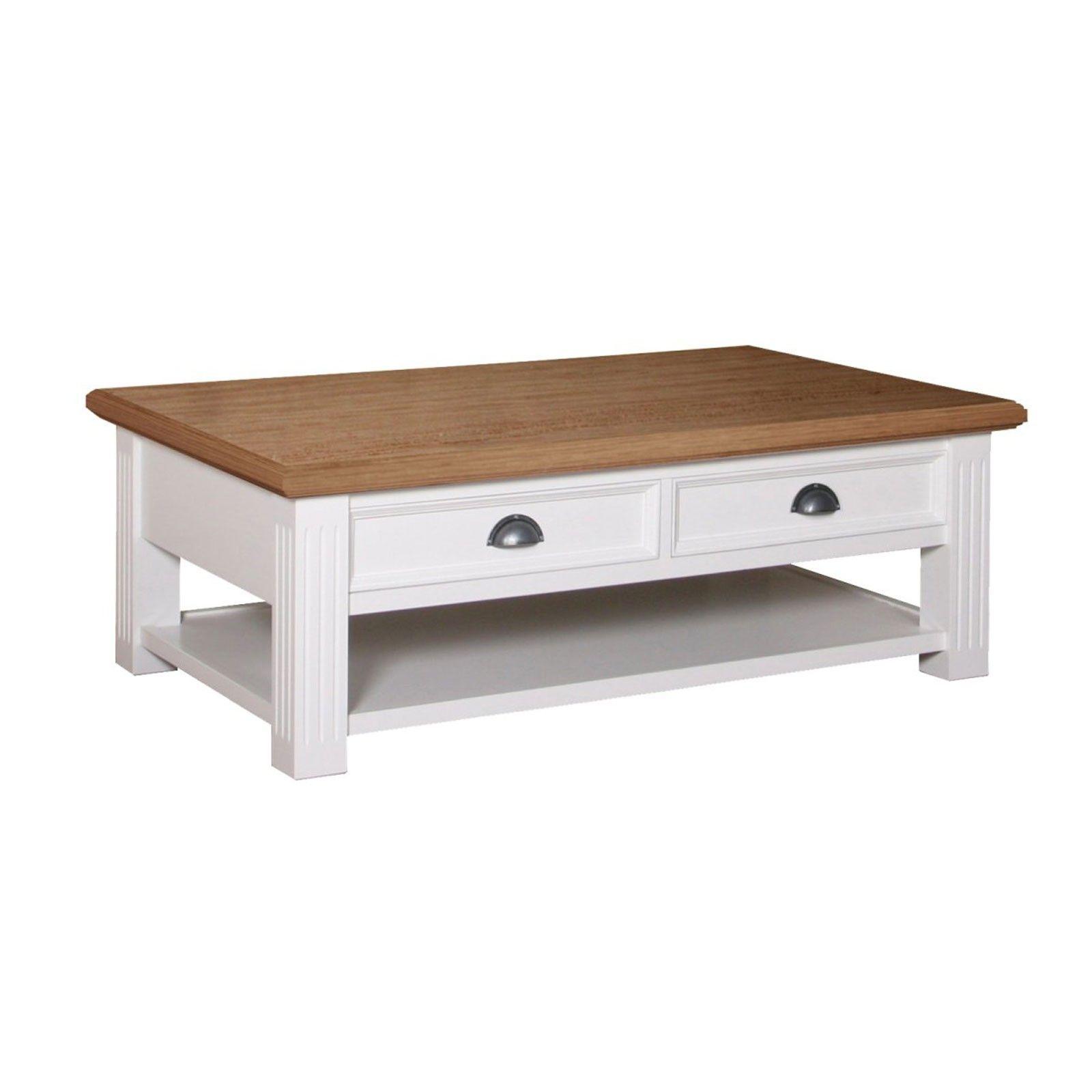 "Table de salon 2 tiroirs ""Chêne et Pin Romance"" + achat table basse"