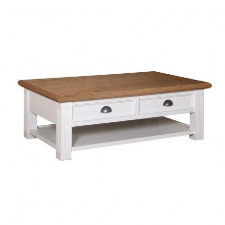 "Table basse rectangulaire 2 tiroirs ""Chêne et Pin Romance"""