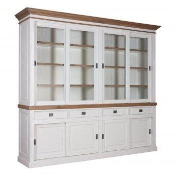 "Cabinet 2x4 portes 4 tiroirs ""Chêne et Pin Romance"" - grand cabinet bicolore"