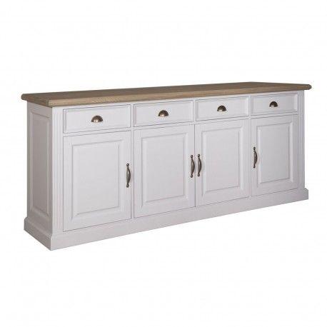 """Buffet bas 4 portes 4 tiroirs """"Chêne et Pin Romance"""""""