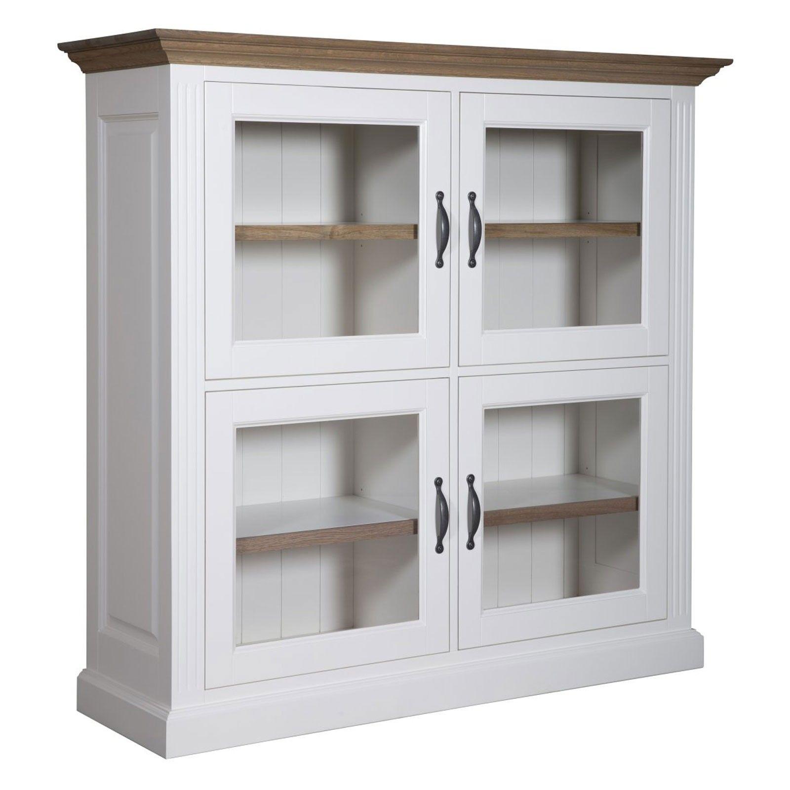 """Cabinet 4 portes vitrées """"Chêne et Pin Romance"""" - achat cabinet vitré"""