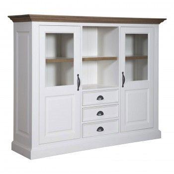 "Cabinet 2 portes 3 tiroirs ""Chêne et Pin Romance"" - achat cabinet"