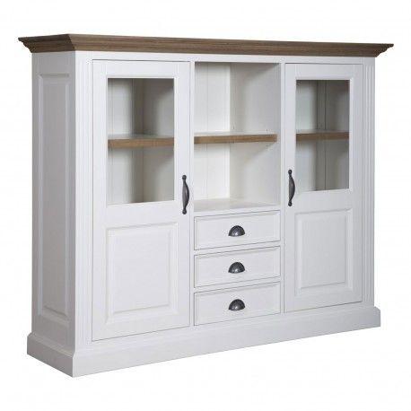 "Cabinet 2 portes 3 tiroirs ""Chêne et Pin Romance"""