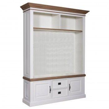 """Meuble TV 2 portes 2 tiroirs avec des panneaux de bossage """"Chêne et Pin Romance"""" - meuble tv rangement"""