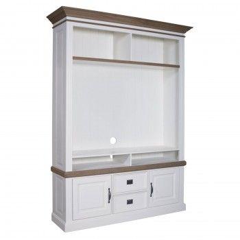 """Meuble TV avec étagière 2 portes 2 tiroirs """"Chêne et Pin Romance"""" - achat meuble tv haut de gamme"""