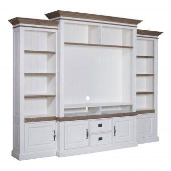 """Meuble TV avec étagère 2 portes 2 tiroirs avec des panneaux de bossage """"Chêne et Pin Romance"""" - meuble tv design chic"""