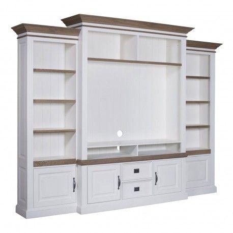 """Meuble TV avec étagère 2 portes 2 tiroirs avec des panneaux de bossage """"Chêne et Pin Romance"""""""