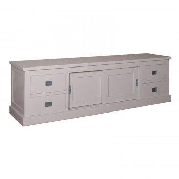 "Meuble TV 2 portes 4 tiroirs ""Pin Chic"" - achat meuble tv"