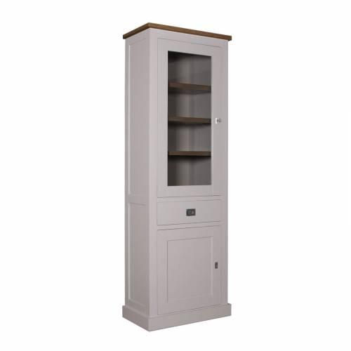 """Vitrine 2x1 porte 1 tiroir - tourne à gauche """"Kubic Oak"""" - achat vitrine haut de gamme"""