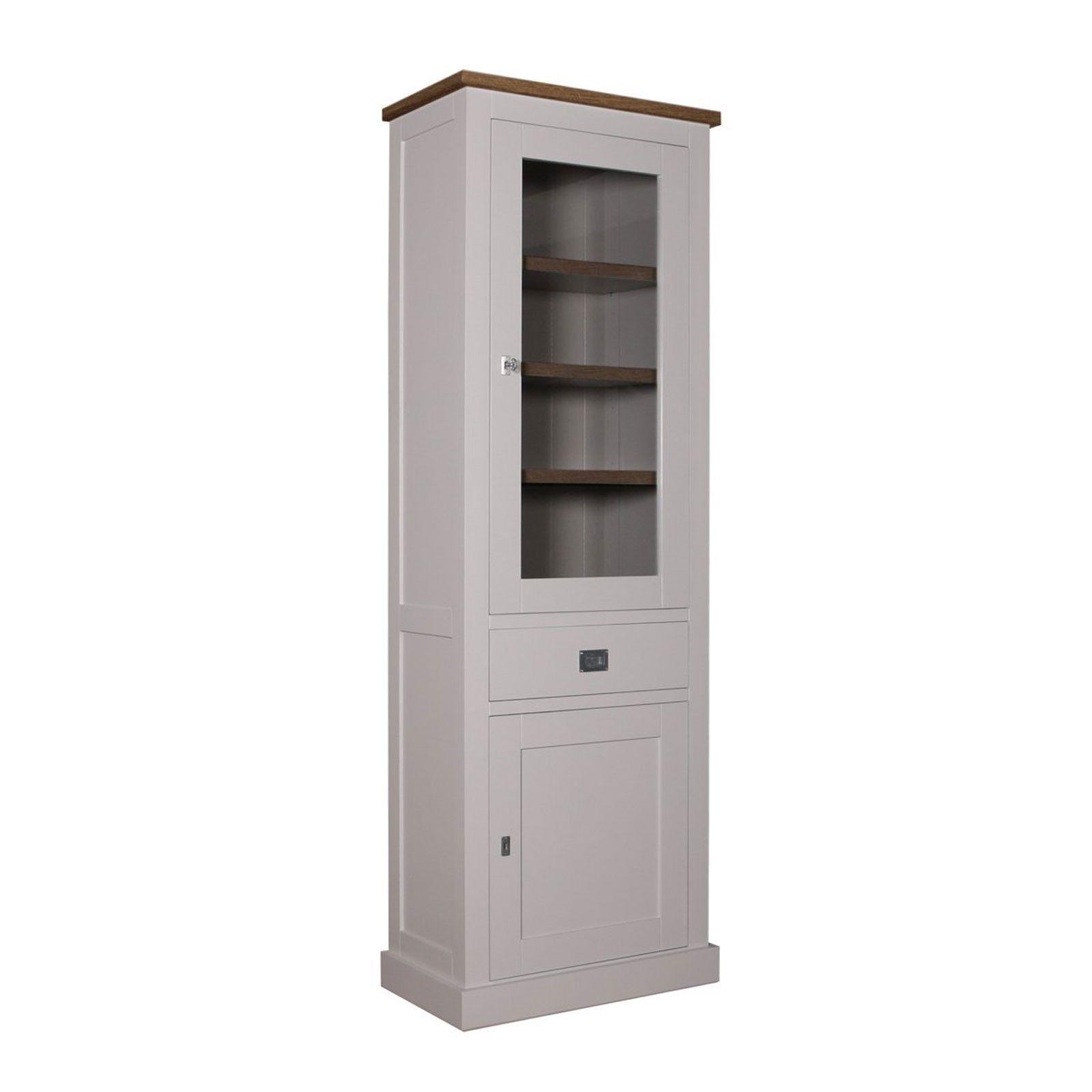 """Vitrine 2x1 porte 1 tiroir - tourne à droite """"Kubic Oak"""" - achat vitrine haut de gamme"""