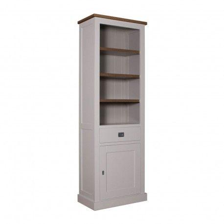 "Bibliothèque 1 porte 1 tiroir - tourne à droite ""Chêne et Pin Chic"""