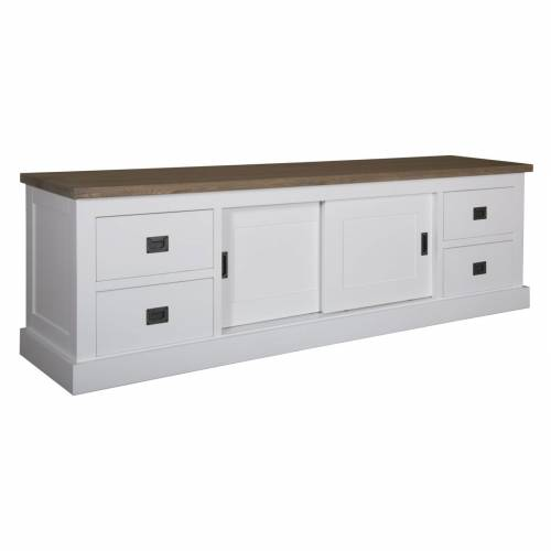 "Meuble TV 2 portes 4 tiroirs ""Chêne et Pin Chic"" - achat meuble tv"