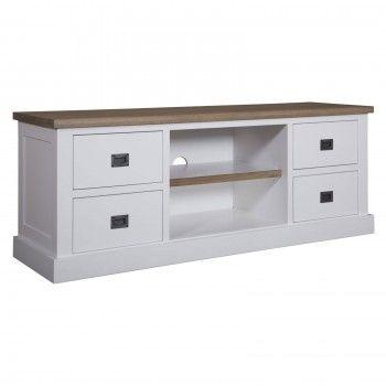"Meuble TV 4 tiroirs ""Chêne et Pin Chic"" - achat meuble tv"