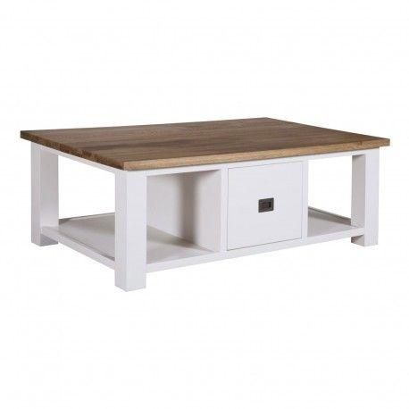 "Table basse rectangulaire 2 tiroirs ""Chêne et Pin Chic"""