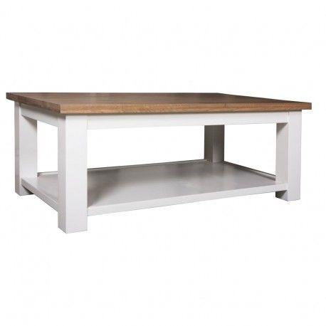"Table basse rectangulaire double plateau ""Chêne et Pin Chic"""