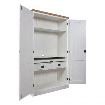 """Meuble d'ordinateur """"Chêne et Pin Chic"""" - achat meuble de bureau blanc"""