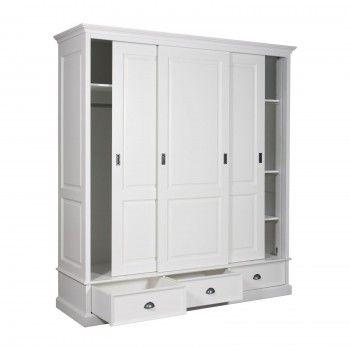 Armoire à linge 3 portes 2 tiroirs - haut de gamme