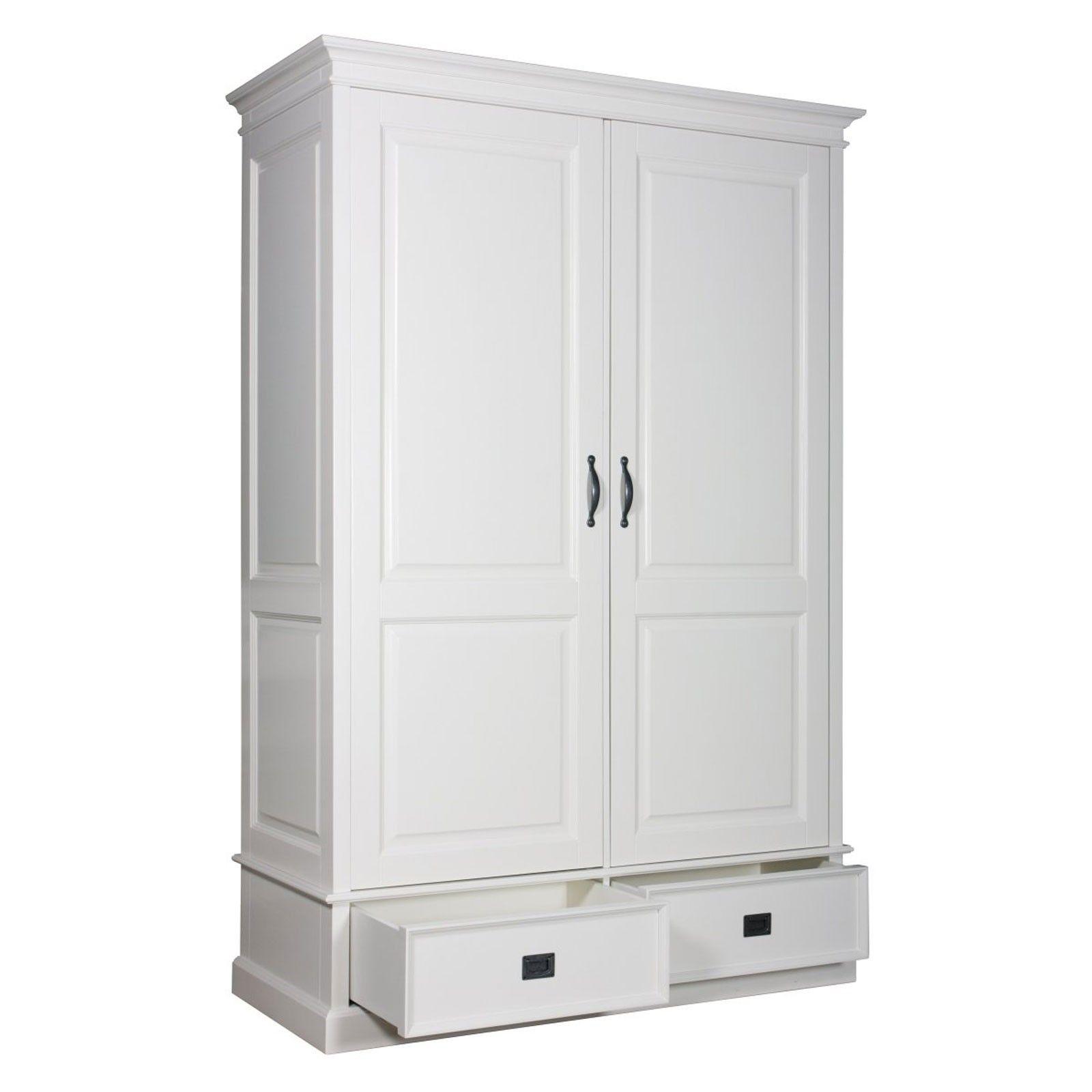 Armoire à linge 2 portes 2 tiroirs - grande armoire à linge