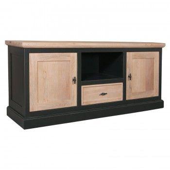 "Meuble TV 2 portes 1 tiroir ""Vintage"" - achat meuble tv noir"